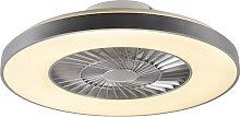 Ventilador de techo plateado efecto-estrella LED