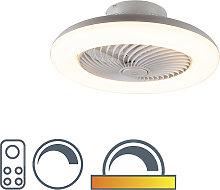 Ventilador diseño blanco LED regulable - CLIMA