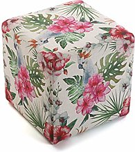 Versa 21350132 Taburete Cubo Puff Cuadrado Flores