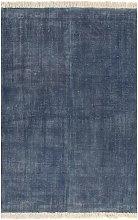vidaXL Alfombra de algodón Kilim 120x180 azul -