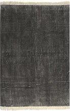 vidaXL Alfombra de algodón Kilim 120x230 cm gris