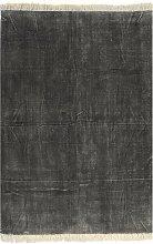 vidaXL Alfombra de algodón Kilim 200x290 cm gris