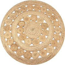 vidaXL Alfombra redonda yute trenzado con diseño