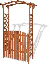 vidaXL Arco de jardín con puerta de madera maciza