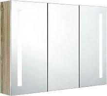 vidaXL Armario cuarto baño con espejo y LED