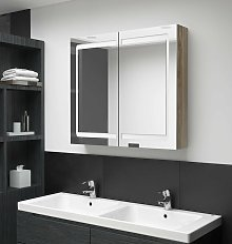 vidaXL Armario de baño con espejo LED color roble