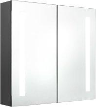 vidaXL Armario de baño con espejo LED gris