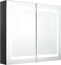 vidaXL Armario de baño con espejo LED negro