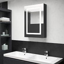 vidaXL Armario de baño con espejo y LED negro