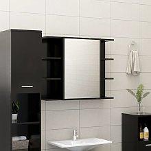 vidaXL Armario de espejo de baño aglomerado negro
