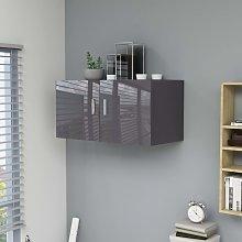 vidaXL Armario de pared aglomerado gris brillante