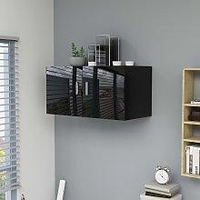 vidaXL Armario de pared aglomerado negro brillante