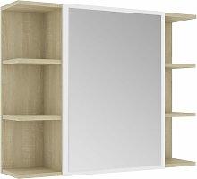 vidaXL Armario espejo de baño aglomerado blanco y