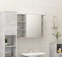 vidaXL Armario espejo de baño aglomerado gris