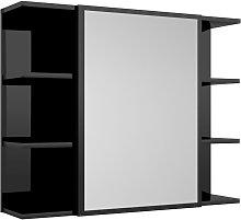 vidaXL Armario espejo de baño aglomerado negro