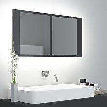 Vidaxl - Armario espejo de baño luz LED gris