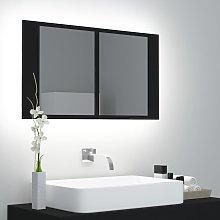 vidaXL Armario espejo de baño luz LED negro