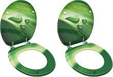 vidaXL Asiento de inodoro con tapa 2 uds MDF verde