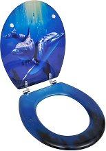 vidaXL Asiento inodoro WC MDF tapa delfines