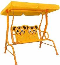 vidaXL Banco balancín para niños tela amarillo