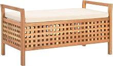 vidaXL Banco de almacenamiento de madera maciza de