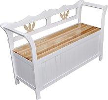 vidaXL Banco de almacenamiento madera blanco