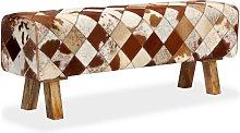 vidaXL Banco de cuero de vaca auténtico estampado