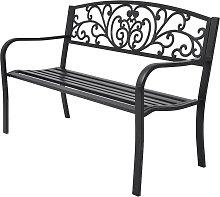 vidaXL Banco de jardín de hierro fundido negro