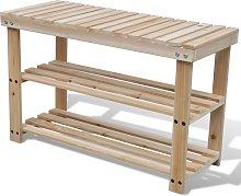 vidaXL Banco zapatero 2 en 1 madera maciza de abeto