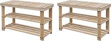 vidaXL Banco zapatero 2 unidades 2 en 1 madera