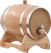 vidaXL Barril de vino con grifo madera roble