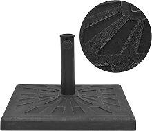 vidaXL Base de sombrilla resina cuadrada negra 19