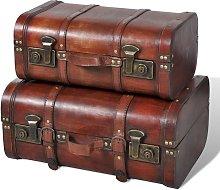 vidaXL Baúl cofre de madera vintage marrón 2