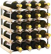 vidaXL Botellero para 20 botellas de madera maciza