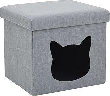 vidaXL Cama plegable para gatos lino sintético