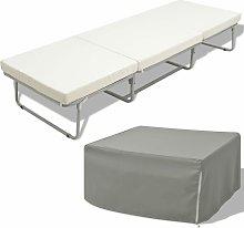 Vidaxl - Cama/taburete plegable con colchón acero