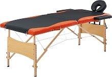 vidaXL Camilla de masaje plegable 2 zonas madera
