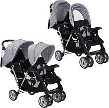 vidaXL Carrito para dos bebés tandem gemelos gris