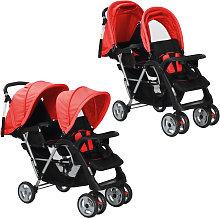 vidaXL Carrito para dos bebés tandem rojo y negro