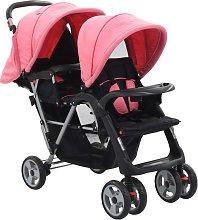 vidaXL Carrito para dos bebés tandem rosa y negro