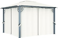 vidaXL Cenador con cortina color crema aluminio