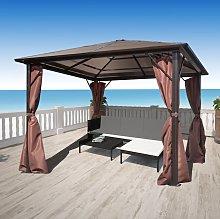 vidaXL Cenador con cortina marrón aluminio 300 x