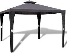vidaXL Cenador con tejado 3x3 m gris oscuro - Gris