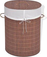 vidaXL Cesto de la ropa de bambú ovalado marrón