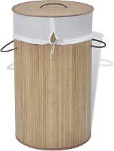 vidaXL Cesto de la ropa de bambú redondo color