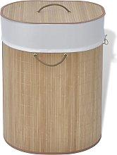 vidaXL Cesto de la ropa sucia de bambú ovalado