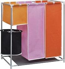 vidaXL Cesto de ropa sucia 3 secciones con cubo de