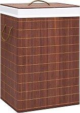 vidaXL Cesto de ropa sucia de bambú marrón 72 L