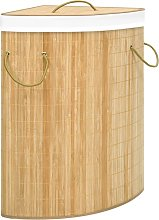 vidaXL Cesto de ropa sucia de esquina de bambú 60