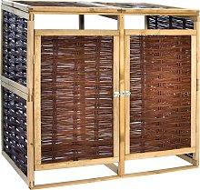 vidaXL Cobertizo doble para basura madera de pino